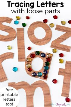 Tracing Letters with Loose Parts Tracing letters with loose parts is a great way for preschool and kindergarten students to learn the alphabet. It's a fun literacy provocation! Plus, it includes free printable letters! Letter Activities, Kindergarten Activities, Preschool Learning, Preschool Letters, Letters Kindergarten, Letter Recognition Kindergarten, Reggio Emilia Preschool, Patterning Kindergarten, Preschool Names