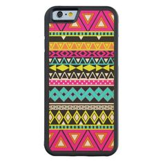 Pink Yellow Neon Bright Abstract Aztec Pattern Carved® Maple iPhone 6 Bumper Case