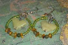 Peridot Butterflies Bloodstone and Amber Hoop by earthborngoddes, $10.00