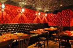 leather, velvet and ceiling tiles