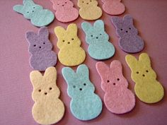 Wool Felt Bunny Treats Die Cuts 24 Bunnies by AMarketCollection