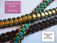 Pattern for Toying with Tiles Bracelet by WescottJewelry on Etsy - uses Czechmate Tiles and SuperDuos