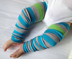 Spring Turquoise Stripe Baby Legs / Boy Leg Warmers by OSewHappy, $8.25