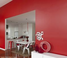Interior Wall Paint Colors – Painting indoor walls can significantly alter the feel and look of your house. Paint is an inexpensive method to change a common room into something amazing. Wall Paint Colors, Interior Paint Colors, Gray Interior, Home Interior Design, Red Feature Wall, Dining Room Colour Schemes, Home Decor Colors, Red Rooms, Red Walls