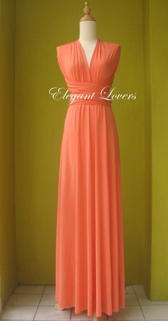 Orange Color Infinity Dress Wrap Dress Bridesmaid by Elegantlovers, $79.00