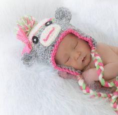 Newborn Sock Monkey Hat by MadhatterknitsCo on Etsy, $25.00