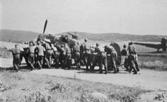 Hungarian ground crew pushing a Bf 1944 Defence Force, Ww2 Aircraft, Axis Powers, Weapon, Planes, Dolores Park, Germany, Travel, Pilots