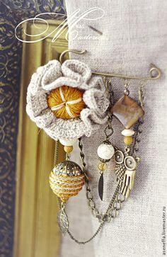 Textile Jewelry, Fabric Jewelry, Jewellery, Fabric Flower Brooch, Fabric Flowers, Crochet Brooch, Crochet Earrings, Safety Pin Jewelry, Brooches Handmade