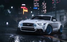 White ford mustang, video game, Need for speed payback