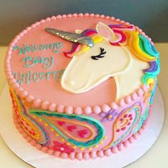 Baby Showers - Hayley Cakes and Cookies Baby unicorn baby shower cake! Gateau Baby Shower, Baby Shower Cakes, Baby Cakes, Girl Cakes, Fondant Cakes, Cupcake Cakes, Fondant Baby, Sweets Cake, Cake Cookies
