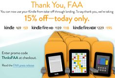FAA now allows eloctronic devices throughout entire flight! 1 day sale on Kindles on celebration!
