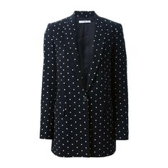 GIVENCHY Cross Print Blazer (£945) ❤ liked on Polyvore featuring outerwear, jackets, blazers, black, pattern jacket, black blazer, print jacket, print blazer and cross jackets