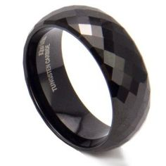 King Will 8mm Men's Black Multi-faceted Tungsten Carbide Wedding Engagement Ring