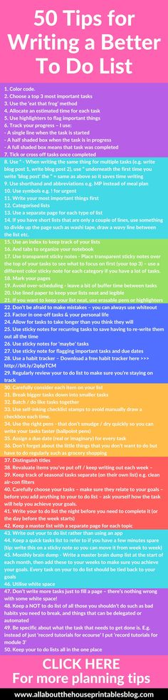 50 Tips for writing a better to do list effective productive time management organization ideas example categories color coding