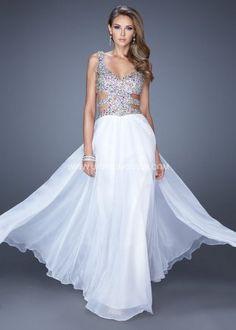 2014 White Long Sleeveless Low Cut Prom Dress by La Femme 19658