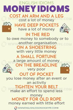 Learn English 164592561369348448 - English Idioms related to Money. On a shoestring. Cost an arm and a leg meaning. English idioms in context. Source by salasar Advanced English Vocabulary, Teaching English Grammar, English Writing Skills, English Vocabulary Words, Learn English Words, English Phrases, English Language Learning, English Lessons, Teaching Spanish