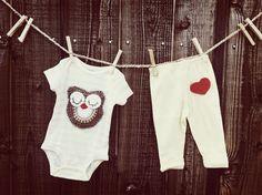 Sweet Crochet Owl Onesie Pant Set  Baby Girl 6 by DeyaStudio, $35.00