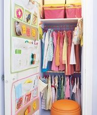 When it comes to kids wall storage you cant beat the function of a good multi-pocket organizer for keeping hair accessories, lip balm, sunglasses and other misc. trinkets handy. Discover more kids room decorating and organizing tips and ideas @ kidsroomdecoratin...