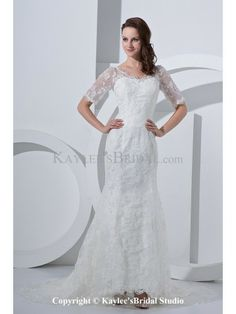Satin V-Neck Court Train Sheath Wedding Dress with Lace and Short Sleeves