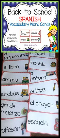 Back To School ~ Spanish ~ Vocabulary Word Cards Vocabulary Bulletin Boards, Kindergarten Bulletin Boards, Kindergarten Themes, Spanish Sentences, Spanish Vocabulary, Vocabulary Cards, Classroom Resources, Classroom Ideas, Bilingual Classroom