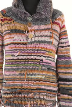 Handmade men sweater, natural wool, different yarn. $170.00, via Etsy.
