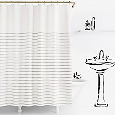 image of kate spade new york bow tile shower curtain in platinum