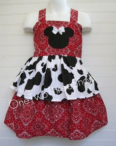 Girls Lil Cowgirl Cow Print Minnie Mouse Bandana Dress