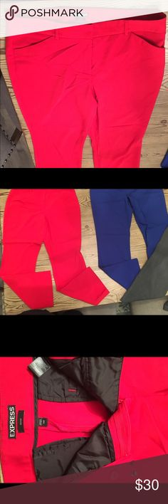 Editor Express Dress Pants 2 pairs regular Editor Pants from Express in blue and red. Make the work day less boring with a pop of color Express Pants Boot Cut & Flare