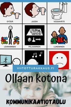 Ollaan kotona kommunikaatiotaulu - Viitottu Rakkaus Pre School, Language, Comics, Kids, Toddlers, Young Children, Young Children, Boys, Little Boys