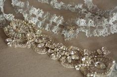 Rhinestone and Crochet Lace Bridal Garter Set