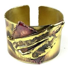 Layered Leaf Copper and Brass Cuff - Brass Images (C)