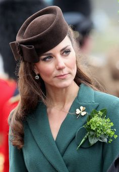 Kate takes part in a St Patrick's Day parade as she visits Aldershot Barracks on St Patrick's Day on March 17, 2012 in Aldershot, England.