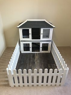 Kaninchen Hand crafted sub floor & white picket fencing. Wood laminate from HD. Bunny house from Ama Diy Bunny Cage, Diy Guinea Pig Cage, Guinea Pig House, Bunny Cages, Pet Guinea Pigs, Rabbit Cages, Rabbit Cage Diy, Indoor Rabbit House, Indoor Rabbit Cage
