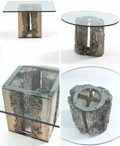 Tables made from the unwanted insect eaten wood