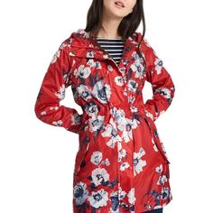 Joules Right as Rain Golightly Pack Away Waterproof Parka (230 RON) ❤ liked on Polyvore featuring outerwear, coats, water proof coat, red coat, water resistant parka, parka coats and red hooded coat