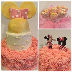 """Minnie Mouse Party Pack $150 includes 10""""/6""""/4"""" with ears, 6"""" smash cake and 1 dozen Minnie Cakepops"""
