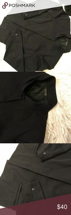 """Tahari Jacket A beautiful silk lined 💯 wool short, lightweight jacket.  It's a military style neck, & button down where small buttons are invisible when buttoned.  An extra button is on inside of jacket.  Gorgeous😅😅all black jacket that can be worn casually or dress.  Length is 23"""".  Never worn🤔🤔🤔🤔Dry clean only Tahari Jackets & Coats Trench Coats"""