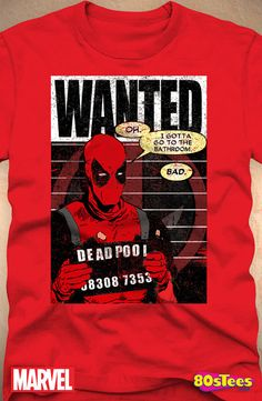 Deadpool Mugshot T-Shirt: Marvel Comics Deadpool Mens T-Shirt Deadpool Outfit, Deadpool T Shirt, Cool Tees, Cool Shirts, Famous Superheroes, Disney Merchandise, Geek Chic, Mug Shots, Marvel Characters