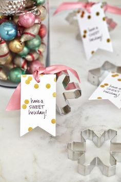 Cookie cutters with a simple message make inexpensive party favors for a cookie exchange or other holiday party. More holiday party ideas: http://www.midwestliving.com/holidays/christmas/5-christmas-party-ideas/?page=4