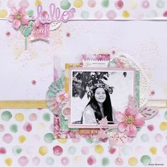 'Hello Sweet' layout - Anita Bownds DT Kaisercraft using Cherry Blossom Collection - Scrapbook Pages Scrapbook Page Layouts, Scrapbook Pages, Scrapbooking Ideas, Paper Crafts, Diy Crafts, Wedding Scrapbook, General Crafts, Photos, Crafty