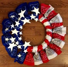 Tutorial: American Flag Bandana Wreath for of July or Memorial Day or Veteran's Day Patriotic Wreath, Patriotic Crafts, July Crafts, Summer Crafts, 4th Of July Wreath, Holiday Crafts, Holiday Wreaths, Holiday Fun, Patriotic Decorations