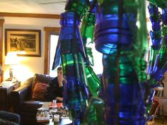Blue and green Wine, Bottle, Green, Home Decor, Decoration Home, Room Decor, Flask, Home Interior Design, Jars