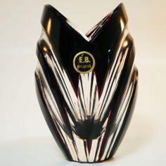 Zwiesel Glas Vase • Überfangglas mit Schnittdekor • Original Label • B. Bulin