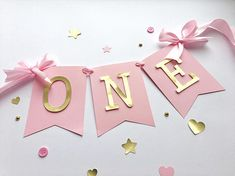 Pink Gold High Chair Banner Baby Girl 1 st Birthday Banner ONE