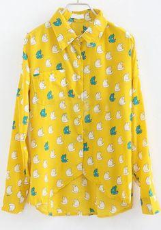 Yellow Off the Shoulder Cats Print Rivet Shirt