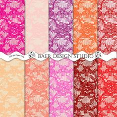 LACE PAPER SALE!!! DIGITAL LACE PAPER Pink Red Coral Purple 12x12 by BaerDesignStudio on Etsy, $2.50