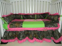 CAMO & LIME & PINK RUFFLED CRIB SET 4 PC - Detailed item view - Liz's Stitches