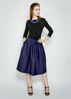 Love the simplicity of this, and the shiny fabric on the skirt. Neckline is just right on this model, but I worry that irl it would be too loose.