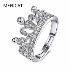 MEEKCAT Exquisite Crown Shaped Ring White CZ Rings for Women Wedding Fashion Silver Plated Aneis De Ouro Zirconia Jewelry