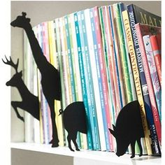 Bookshelf cutouts for fun. Could also be a great way to separate books into categories.